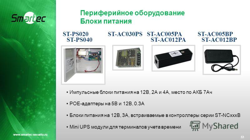 Периферийное оборудование Блоки питания 53 www.smartec-security.ru Импульсные блоки питания на 12В, 2А и 4А, место по АКБ 7Ач POE-адаптеры на 5В и 12В, 0.3А Блоки питания на 12В, 3А, встраиваемые в контроллеры серии ST-NCxxxB Mini UPS модули для терм