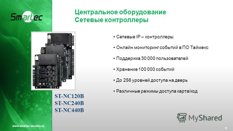 Центральное оборудование Cетевые контроллеры 9 www.smartec-security.ru Сетевые IP – контроллеры Онлайн мониторинг событий в ПО Таймекс Поддержка 30 000 пользователей Хранение 100 000 событий До 256 уровней доступа на дверь Различные режимы доступа ка