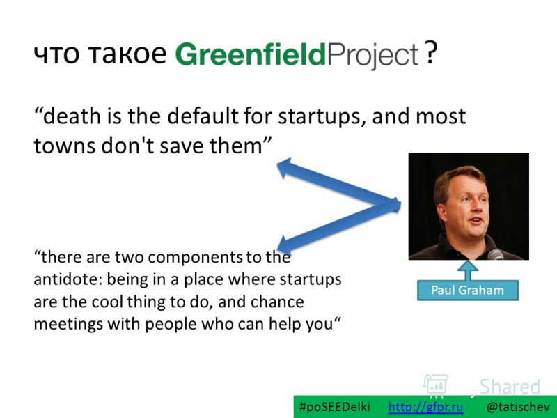 что такое ? death is the default for startups, and most towns don't save them Paul Graham there are two components to the antidote: being in a place where startups are the cool thing to do, and chance meetings with people who can help you #poSEEDelki