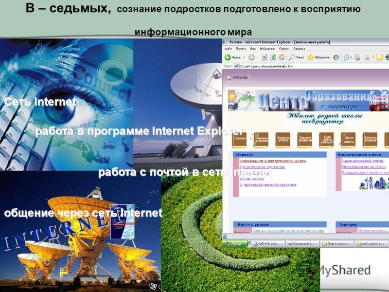 Сеть Internet работа в программе Internet Explorer работа в программе Internet Explorer работа с почтой в сети Internet общение через сеть Internet В – седьмых, сознание подростков подготовлено к восприятию информационного мира