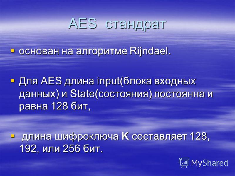 AES стандрат основан на алгоритме Rijndael. основан на алгоритме Rijndael. Для AES длина input(блока входных данных) и State(состояния) постоянна и равна 128 бит, Для AES длина input(блока входных данных) и State(состояния) постоянна и равна 128 бит,