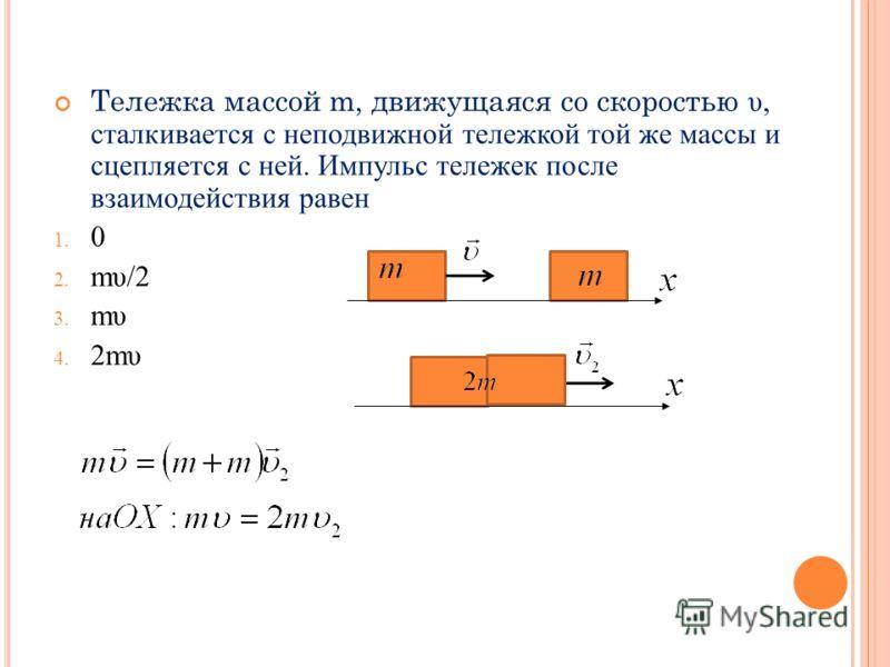 Тележка массой m, движущаяся со скоростью υ, сталкивается с неподвижной тележкой той же массы и сцепляется с ней. Импульс тележек после взаимодействия равен 1. 0 2. mυ/2 3. mυ 4. 2mυ