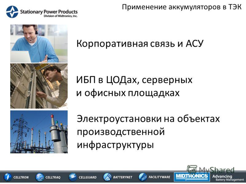 Применение аккумуляторов в ТЭК Корпоративная связь и АСУ ИБП в ЦОДах, серверных и офисных площадках Электроустановки на объектах производственной инфраструктуры