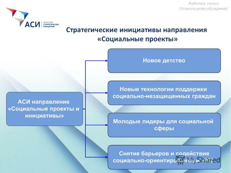 Preliminary version (только в целях обсуждения) Стратегические инициативы направления «Социальные проекты»