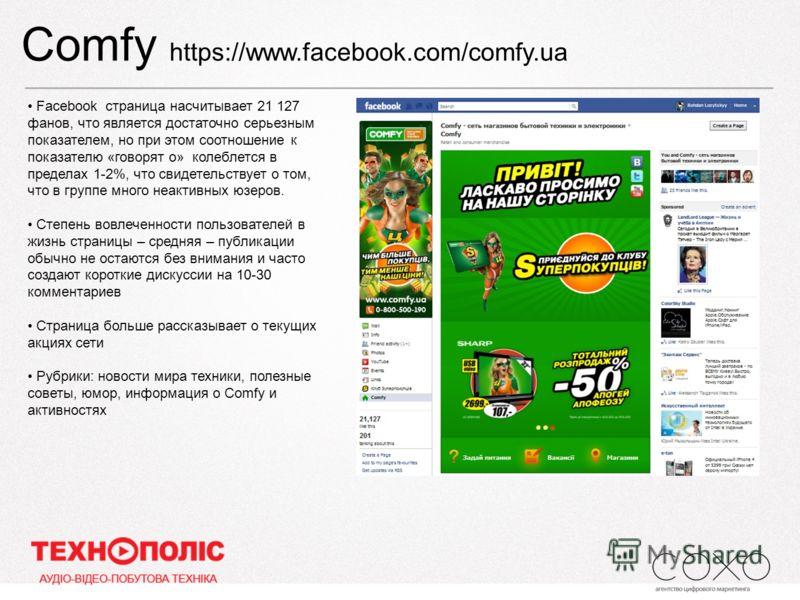 Comfy https://www.facebook.com/comfy.ua Facebook страница насчитывает 21 127 фанов, что является достаточно серьезным показателем, но при этом соотношение к показателю «говорят о» колеблется в пределах 1-2%, что свидетельствует о том, что в группе мн