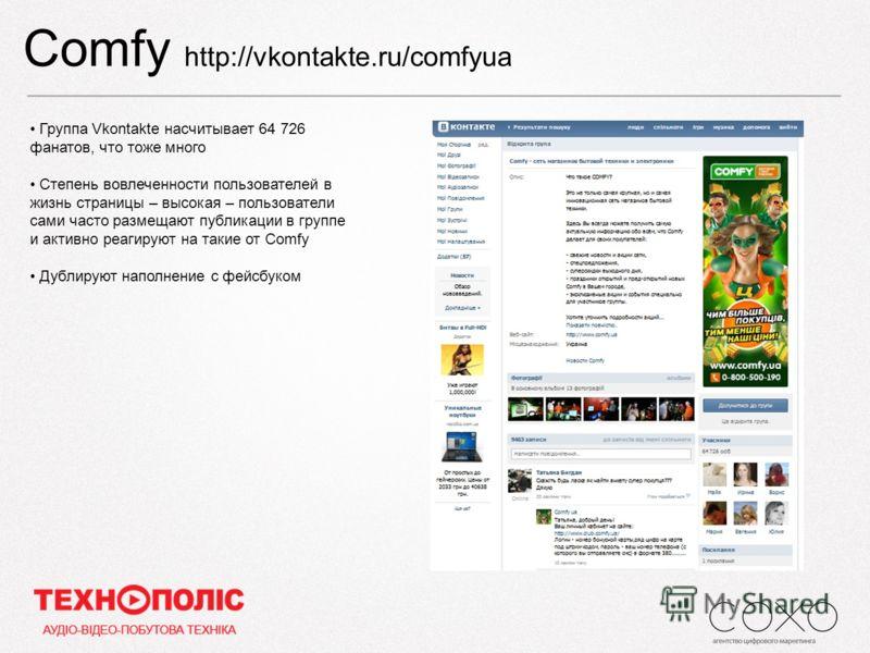 Comfy http://vkontakte.ru/comfyua Группа Vkontakte насчитывает 64 726 фанатов, что тоже много Степень вовлеченности пользователей в жизнь страницы – высокая – пользователи сами часто размещают публикации в группе и активно реагируют на такие от Соmfy