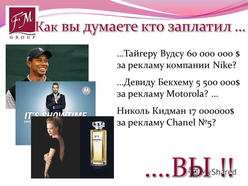 …Тайгеру Вудсу 60 000 000 $ за рекламу компании Nike? …Девиду Бекхему 5 500 000$ за рекламу Motorola? … Николь Кидман 17 000000$ за рекламу Сhanel 5?