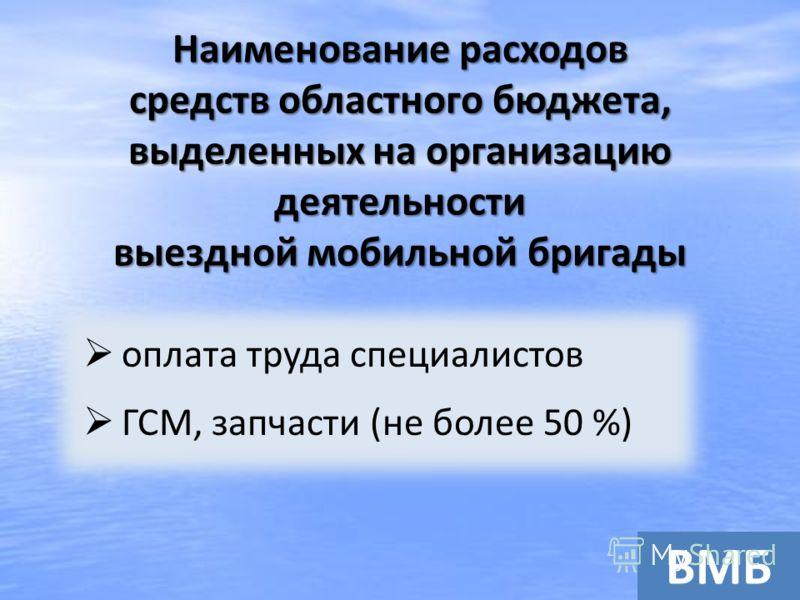 Наименование расходов средств областного бюджета, выделенных на организацию деятельности выездной мобильной бригады оплата труда специалистов ГСМ, запчасти (не более 50 %) ВМБ