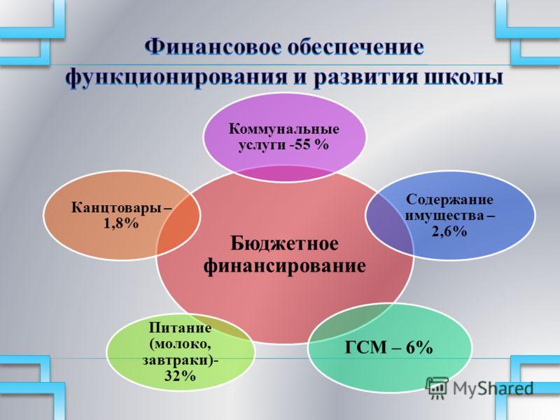 Бюджетное финансирование Коммунальные услуги -55 % Содержание имущества – 2,6% ГСМ – 6% Питание (молоко, завтраки)- 32% Канцтовары – 1,8%