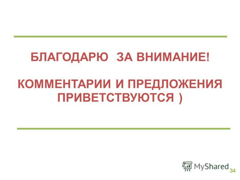 34 БЛАГОДАРЮ ЗА ВНИМАНИЕ! КОММЕНТАРИИ И ПРЕДЛОЖЕНИЯ ПРИВЕТСТВУЮТСЯ )
