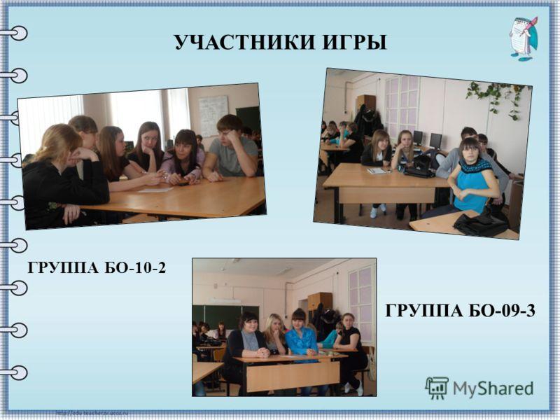 УЧАСТНИКИ ИГРЫ ГРУППА БО-10-2 ГРУППА БО-09-3