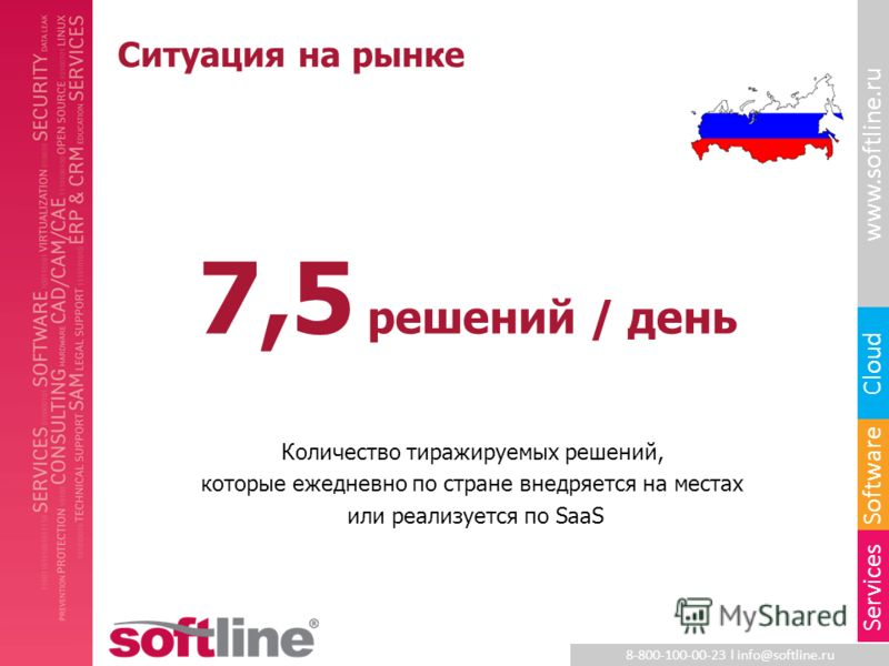 8-800-100-00-23 l info@softline.ru www.softline.ru Software Cloud Services 7,5 решений / день Количество тиражируемых решений, которые ежедневно по стране внедряется на местах или реализуется по SaaS Ситуация на рынке