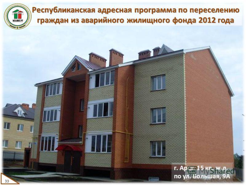 Республиканская адресная программа по переселению граждан из аварийного жилищного фонда 2012 года г. Арск, 15 кв. ж.д. по ул. Большая, 9А 33