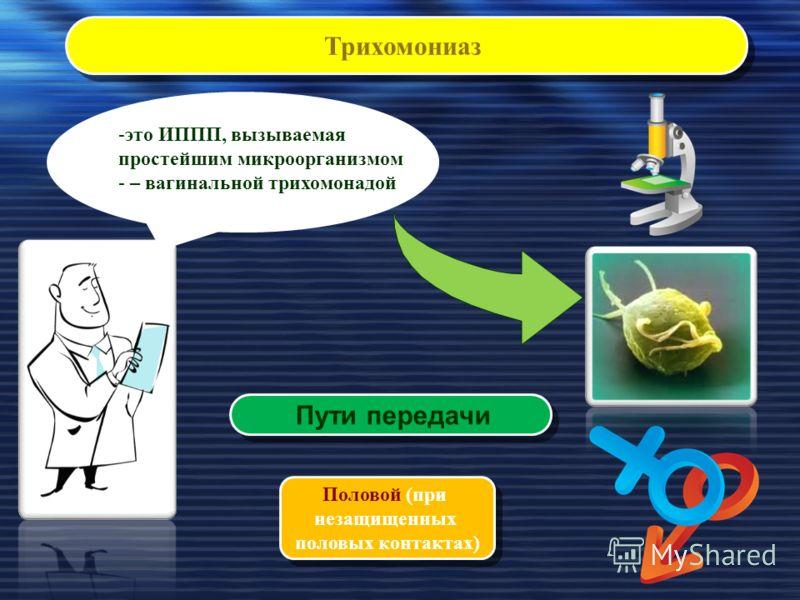 Трихомониаз Пути передачи Половой (при незащищенных половых контактах) Половой (при незащищенных половых контактах) -это ИППП, вызываемая простейшим микроорганизмом - – вагинальной трихомонадой
