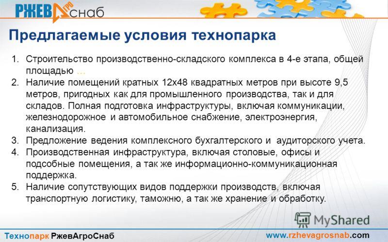 www.rzhevagrosnab.com Технопарк РжевАгроСнаб Причины и условия создания технопарка Наличие свободных площадей и территорий ?
