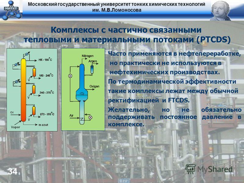 Московский государственный университет тонких химических технологий им. М.В.Ломоносова 34 Комплексы с частично связанными тепловыми и материальными потоками (PTCDS) Часто применяются в нефтепереработке, но практически не используются в нефтехимически