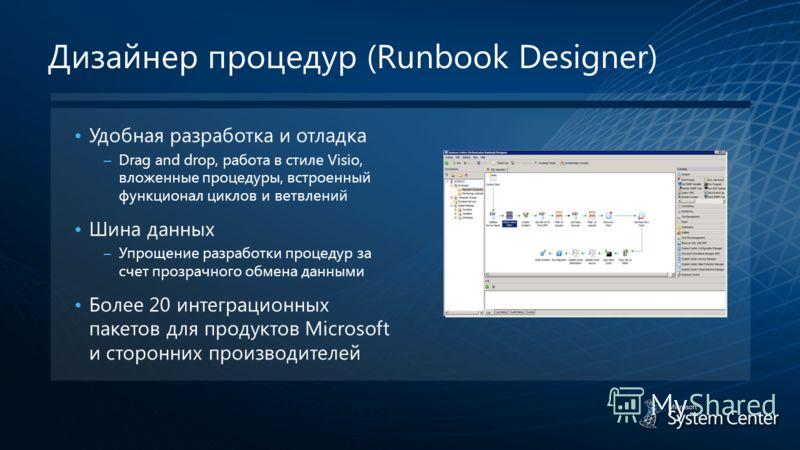 Дизайнер процедур (Runbook Designer) Удобная разработка и отладка – Drag and drop, работа в стиле Visio, вложенные процедуры, встроенный функционал циклов и ветвлений Шина данных – Упрощение разработки процедур за счет прозрачного обмена данными Боле