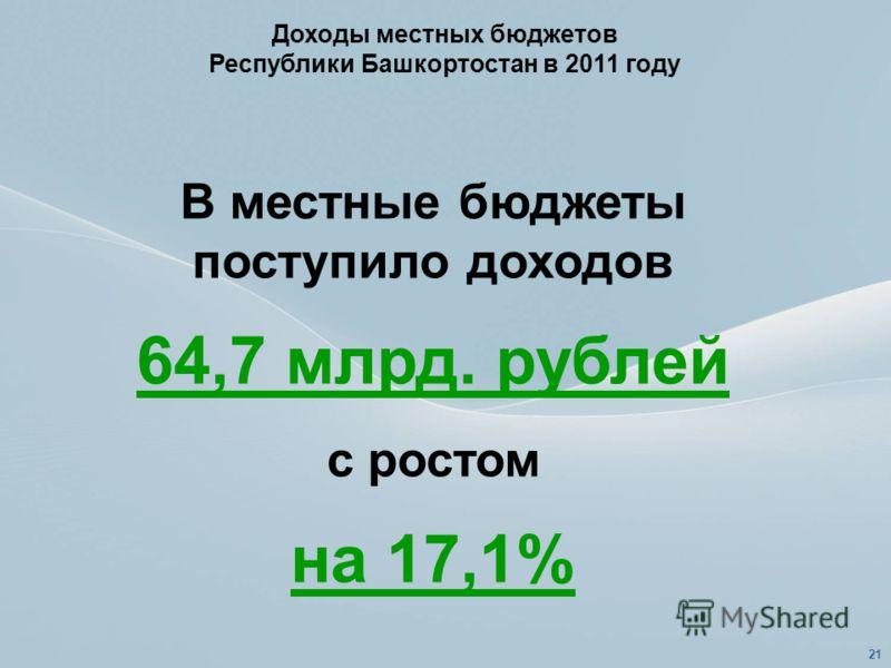 Доходы местных бюджетов Республики Башкортостан в 2011 году В местные бюджеты поступило доходов 64,7 млрд. рублей с ростом на 17,1% 21