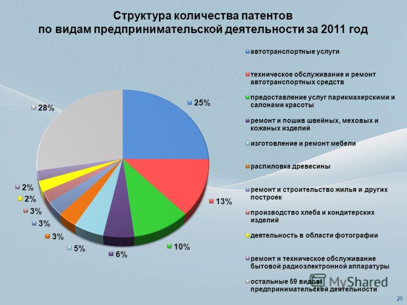 Структура количества патентов по видам предпринимательской деятельности за 2011 год 29