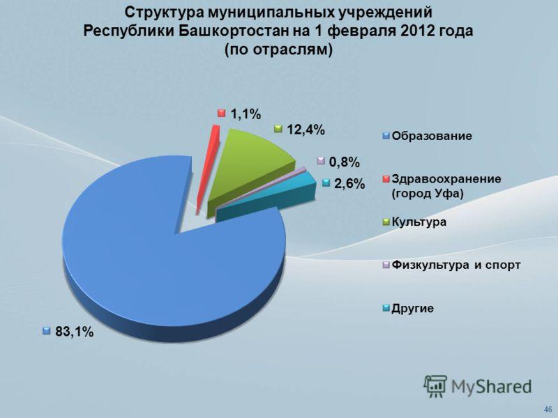 Структура муниципальных учреждений Республики Башкортостан на 1 февраля 2012 года (по отраслям) 46