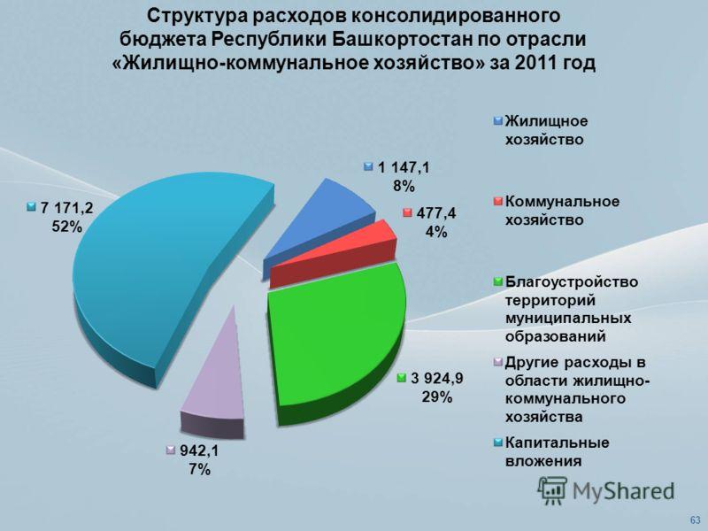 Структура расходов консолидированного бюджета Республики Башкортостан по отрасли «Жилищно-коммунальное хозяйство» за 2011 год 63