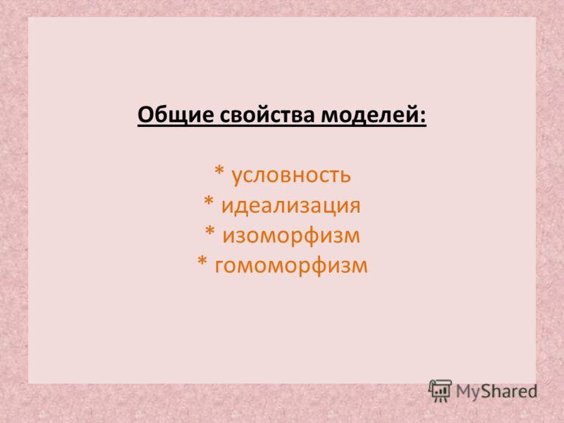Общие свойства моделей: * условность * идеализация * изоморфизм * гомоморфизм
