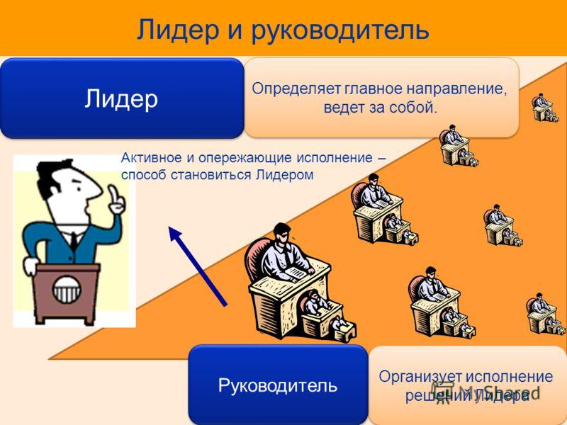 Определяет главное направление, ведет за собой. Лидер и руководитель Лидер Организует исполнение решений Лидера Руководитель Активное и опережающие исполнение – способ становиться Лидером