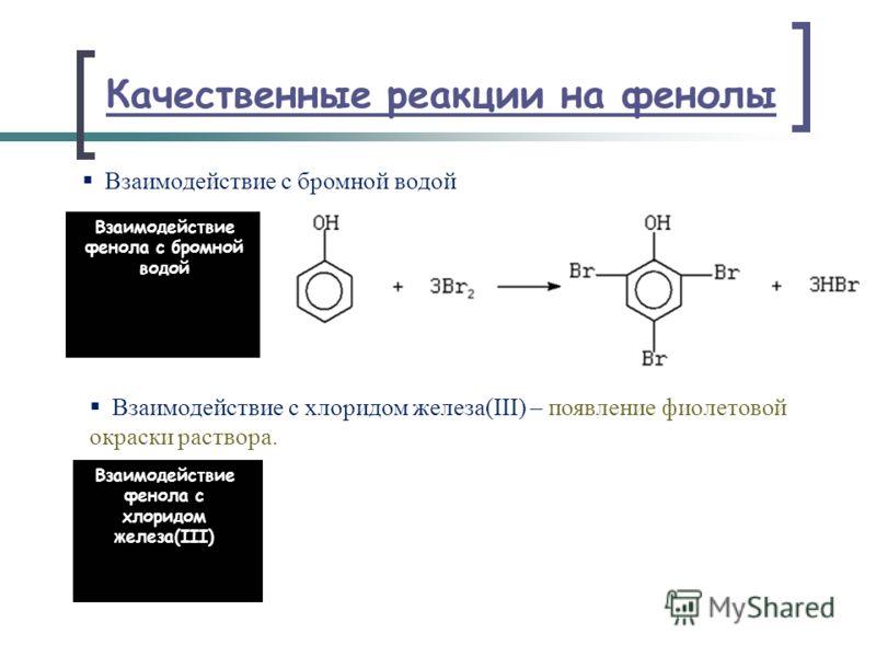 Качественные реакции на фенолы Взаимодействие с бромной водой Взаимодействие с хлоридом железа(III) – появление фиолетовой окраски раствора. Взаимодействие фенола с бромной водой Взаимодействие фенола с хлоридом железа(III)