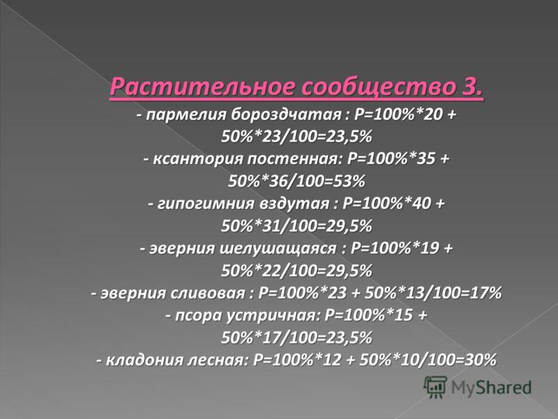 Растительное сообщество 3. - пармелия бороздчатая : Р=100%*20 + 50%*23/100=23,5% - ксантория постенная: Р=100%*35 + 50%*36/100=53% - гипогимния вздутая : Р=100%*40 + 50%*31/100=29,5% - эверния шелушащаяся : Р=100%*19 + 50%*22/100=29,5% - эверния слив