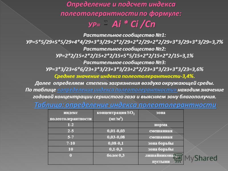индекс полеотолерантности концентрация SO 2 (мг/м 3 ) зона 1-2норма 2-50,01-0,03смешанная 5-70,03-0,08смешанная 7-100,08-0,1зона борьбы 100,1-0,3зона борьбы 0более 0,3лишайниковые пустыни Определение и подсчет индекса полеотолерантности по формуле: У