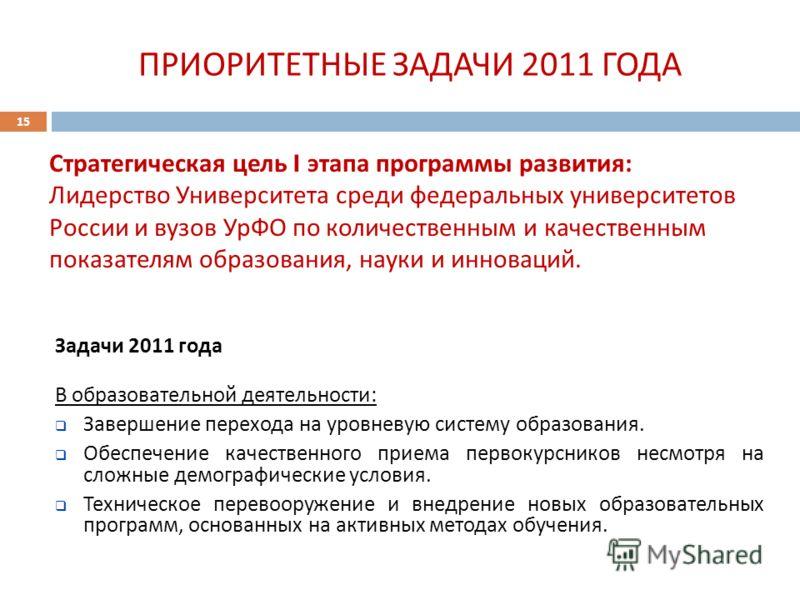 15 Стратегическая цель I этапа программы развития : Лидерство Университета среди федеральных университетов России и вузов УрФО по количественным и качественным показателям образования, науки и инноваций. ПРИОРИТЕТНЫЕ ЗАДАЧИ 2011 ГОДА Задачи 2011 года