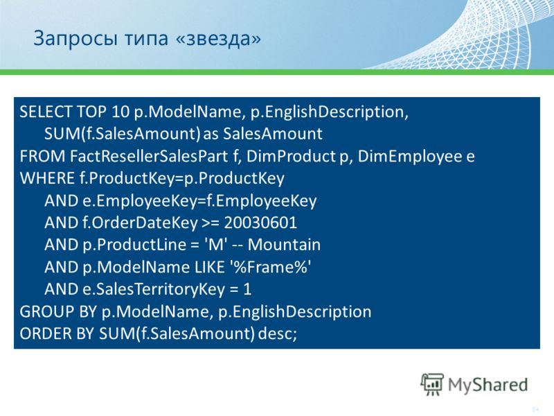 Запросы типа «звезда» SELECT TOP 10 p.ModelName, p.EnglishDescription, SUM(f.SalesAmount) as SalesAmount FROM FactResellerSalesPart f, DimProduct p, DimEmployee e WHERE f.ProductKey=p.ProductKey AND e.EmployeeKey=f.EmployeeKey AND f.OrderDateKey >= 2
