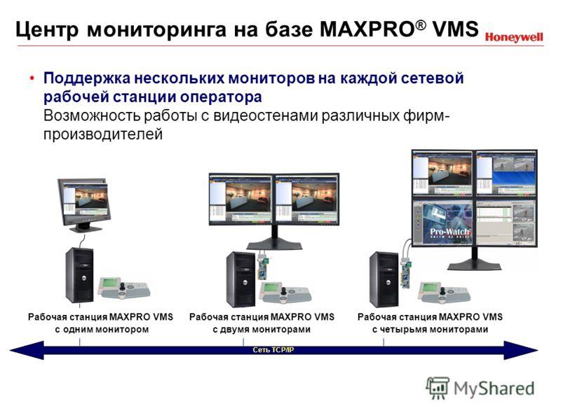 Поддержка нескольких мониторов на каждой сетевой рабочей станции оператора Возможность работы с видеостенами различных фирм- производителей Сеть TCP/IP Рабочая станция MAXPRO VMS с одним монитором Рабочая станция MAXPRO VMS с двумя мониторами Рабочая