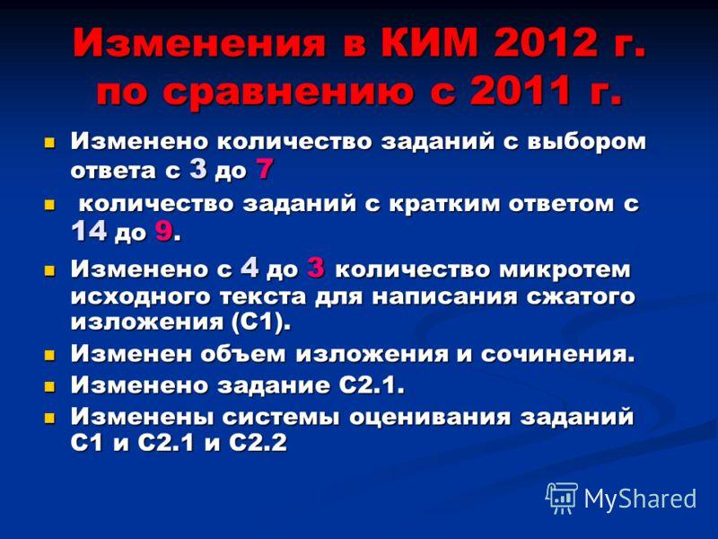 Изменения в КИМ 2012 г. по сравнению с 2011 г. Изменено количество заданий с выбором ответа с 3 до 7 Изменено количество заданий с выбором ответа с 3 до 7 количество заданий с кратким ответом с 14 до 9. количество заданий с кратким ответом с 14 до 9.