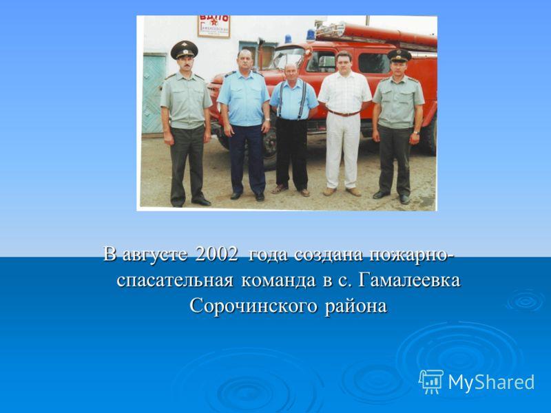 В августе 2002 года создана пожарно- спасательная команда в с. Гамалеевка Сорочинского района