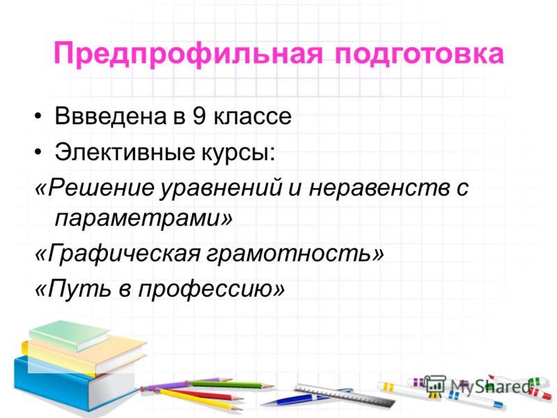 Предпрофильная подготовка Ввведена в 9 классе Элективные курсы: «Решение уравнений и неравенств с параметрами» «Графическая грамотность» «Путь в профессию»