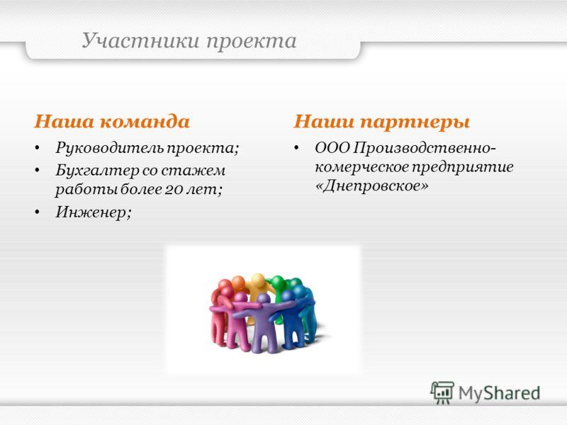Участники проекта Наша команда Руководитель проекта; Бухгалтер со стажем работы более 20 лет; Инженер; Наши партнеры ООО Производственно- комерческое предприятие «Днепровское»