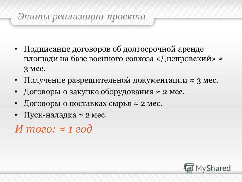 Этапы реализации проекта Подписание договоров об долгосрочной аренде площади на базе военного совхоза «Днепровский» 3 мес. Получение разрешительной документации 3 мес. Договоры о закупке оборудования 2 мес. Договоры о поставках сырья 2 мес. Пуск-нала