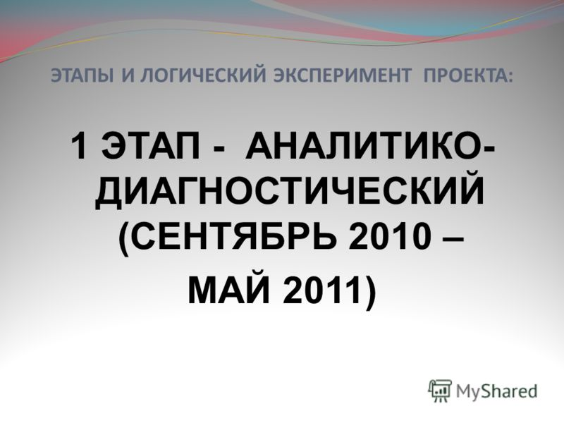 ЭТАПЫ И ЛОГИЧЕСКИЙ ЭКСПЕРИМЕНТ ПРОЕКТА: 1 ЭТАП - АНАЛИТИКО- ДИАГНОСТИЧЕСКИЙ (СЕНТЯБРЬ 2010 – МАЙ 2011)