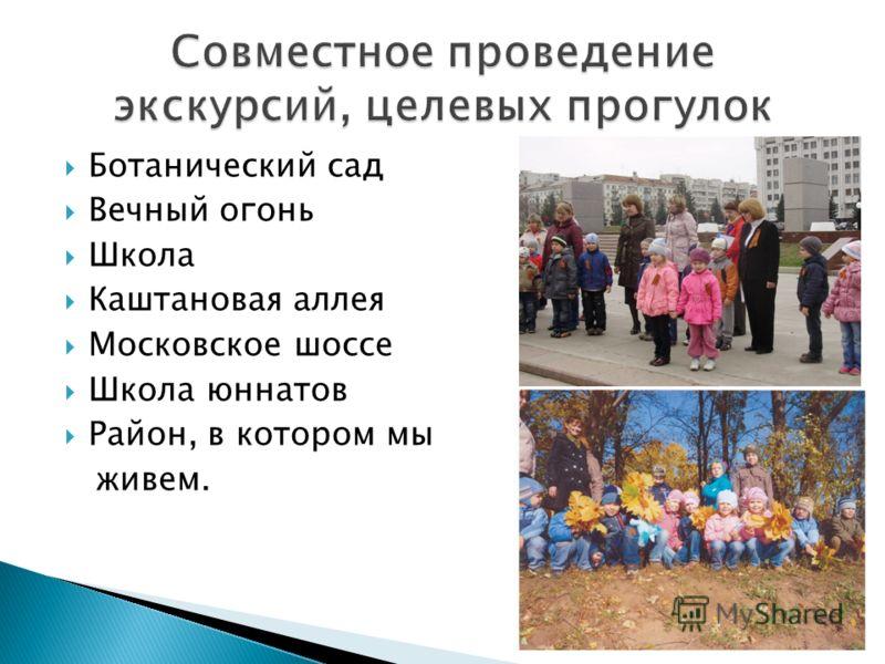 Ботанический сад Вечный огонь Школа Каштановая аллея Московское шоссе Школа юннатов Район, в котором мы живем.