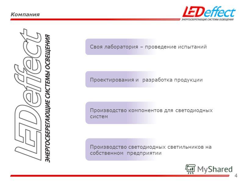 4 Компания Своя лаборатория – проведение испытаний Производство светодиодных светильников на собственном предприятии Проектирования и разработка продукции Производство компонентов для светодиодных систем
