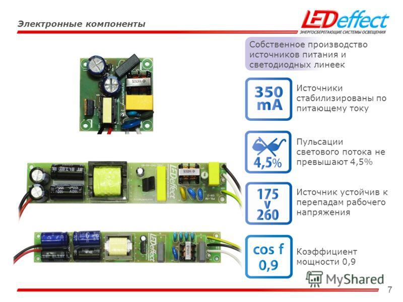 7 Электронные компоненты Собственное производство источников питания и светодиодных линеек Источники стабилизированы по питающему току Пульсации светового потока не превышают 4,5% Источник устойчив к перепадам рабочего напряжения Коэффициент мощности