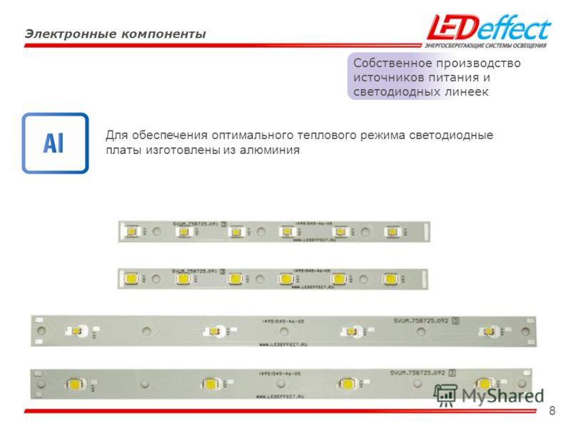 8 Электронные компоненты Собственное производство источников питания и светодиодных линеек Для обеспечения оптимального теплового режима светодиодные платы изготовлены из алюминия
