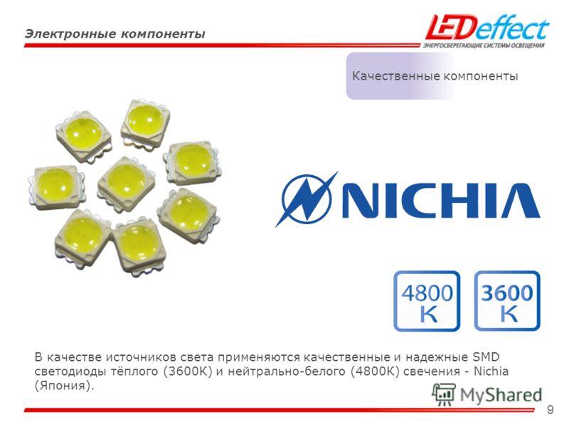 9 Электронные компоненты Качественные компоненты В качестве источников света применяются качественные и надежные SMD светодиоды тёплого (3600К) и нейтрально-белого (4800К) свечения - Nichia (Япония).