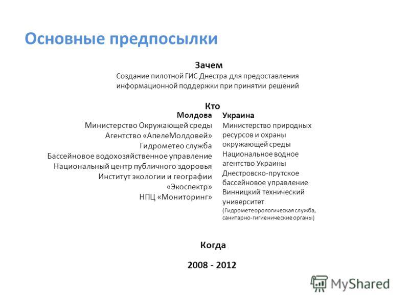 Основные предпосылки Молдова Министерство Окружающей среды Агентство «АпелеМолдовей» Гидрометео служба Бассейновое водохозяйственное управление Национальный центр публичного здоровья Институт экологии и географии «Экоспектр» НПЦ «Мониторинг» Украина