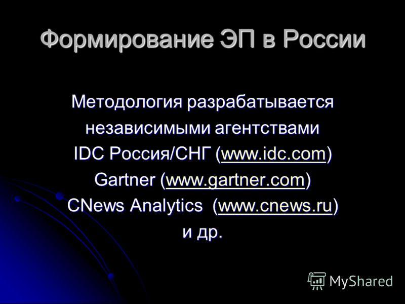 Формирование ЭП в России Методология разрабатывается независимыми агентствами IDC Россия/СНГ (www.idc.com) www.idc.com Gartner (www.gartner.com) www.gartner.com CNews Analytics (www.cnews.ru) www.cnews.ru и др.