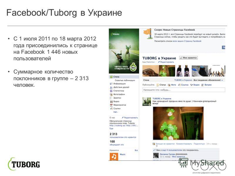 Facebook/Tuborg в Украине С 1 июля 2011 по 18 марта 2012 года присоединились к странице на Facebook 1 446 новых пользователей Суммарное количество поклонников в группе – 2 313 человек.