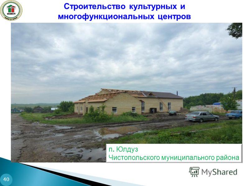 40 Строительство культурных и многофункциональных центров п. Юлдуз Чистопольского муниципального района