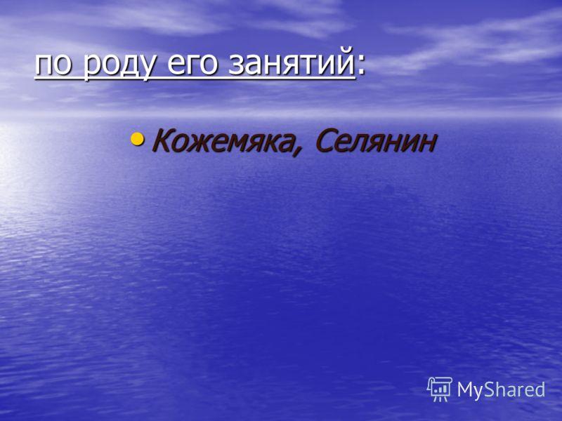 по роду его занятий: Кожемяка, Селянин Кожемяка, Селянин