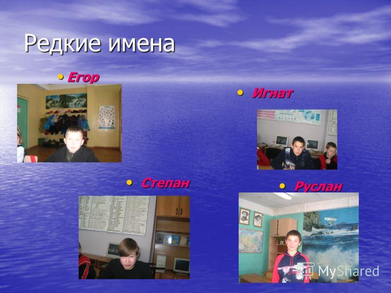 Редкие имена Егор Егор Игнат Игнат Степан Степан Руслан Руслан